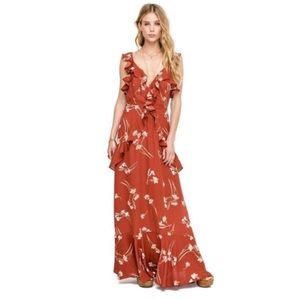 Astr Brown Floral Print Ruffle Trim Maxi Dress